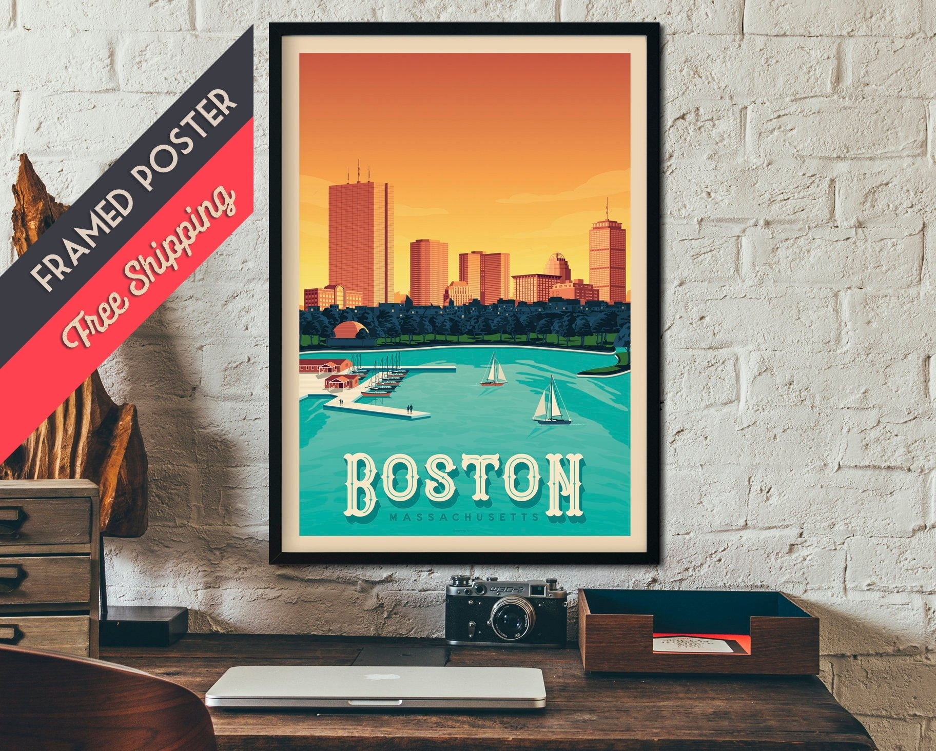 Boston Massachusetts Usa Travel Poster, Vintage Print, Framed Poster With Regard To Boston Wall Art (View 7 of 20)