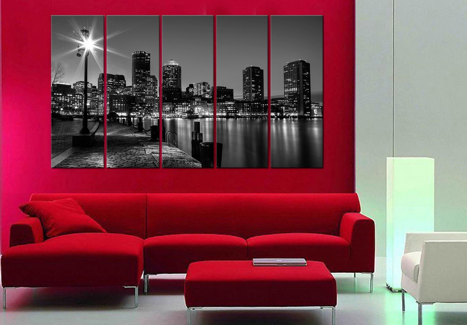 Boston Night 5 Piece Mounted Fiber Board Canvas Wall Art/better Than Intended For Boston Wall Art (View 20 of 20)