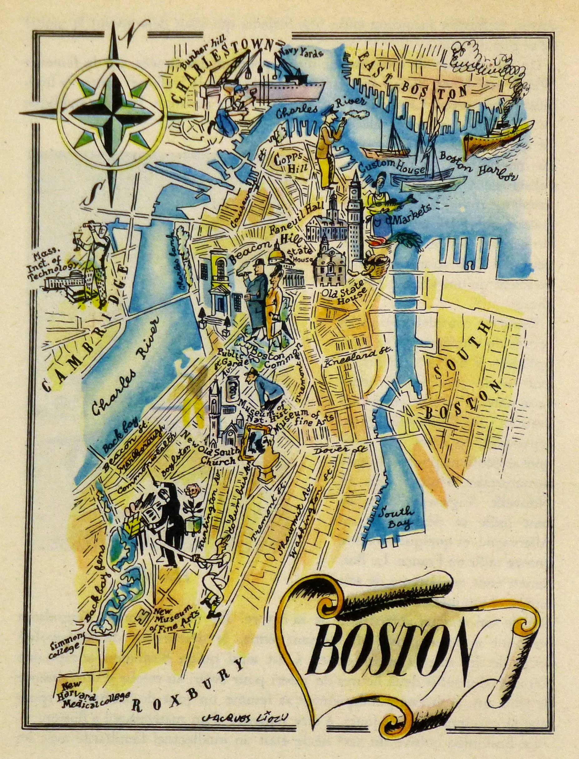 Boston Pictorial Map, 1946 with regard to Chicago Map Wall Art (Image 2 of 20)