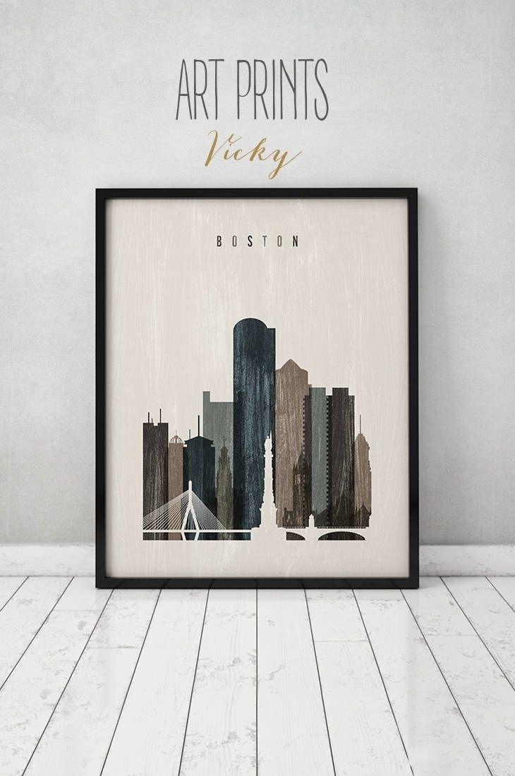 Boston Wall Art, Boston Art, Print, Boston Skyline, Poster Intended For Boston Wall Art (View 2 of 20)
