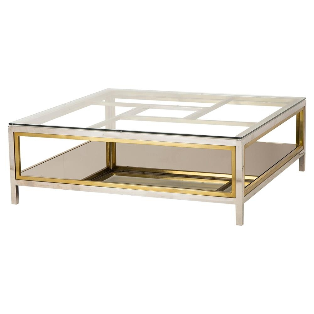 Boyd Windmill Regency Glass Silver Gold Coffee Table | Kathy Kuo Home with Rectangular Brass Finish and Glass Coffee Tables (Image 3 of 30)