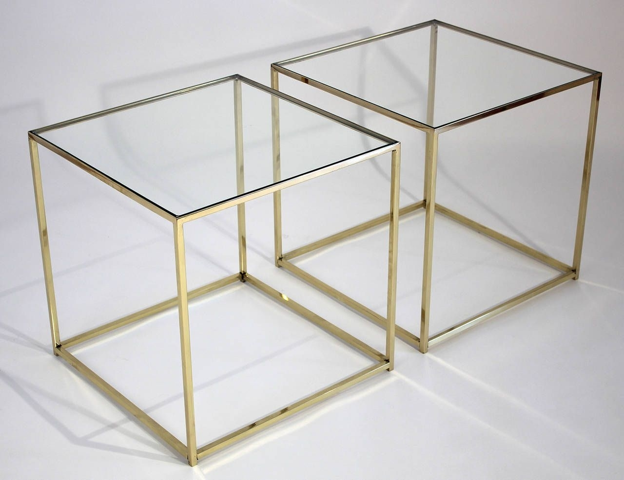Brass And Glass Cube Side Tables | Living Spaces | Pinterest | Glass throughout Brass Iron Cube Tables (Image 3 of 30)