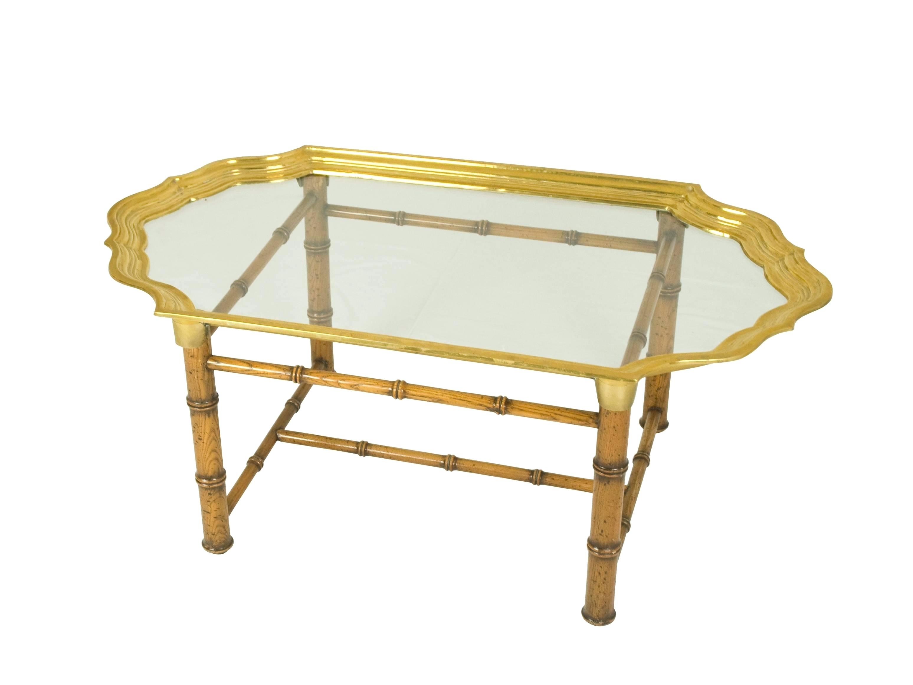 Brass And Wood Coffee Table Antique Brass And Wood Nailhead Inlay within Joni Brass and Wood Coffee Tables (Image 3 of 30)