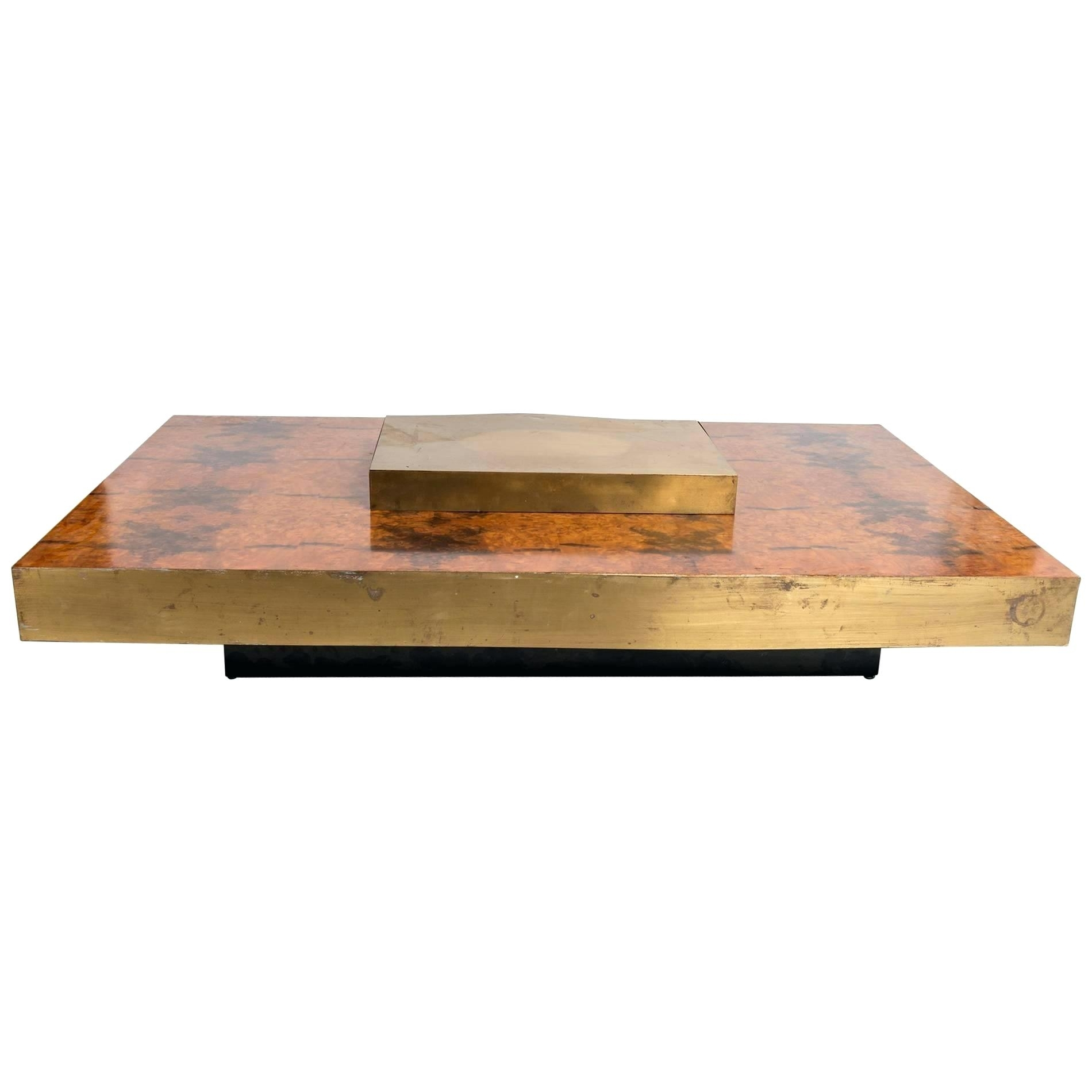 Brass And Wood Coffee Table Brass Wood Brushed Metal Coffee Table regarding Joni Brass And Wood Coffee Tables (Image 8 of 30)
