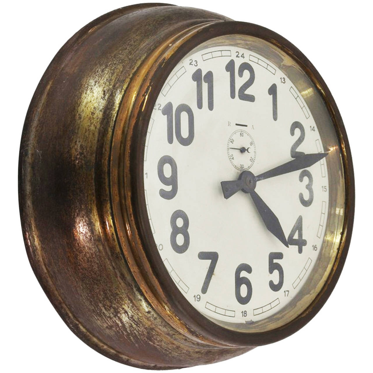 Brass Art Deco Wall Clock At 1Stdibs for Art Deco Wall Clock (Image 9 of 20)