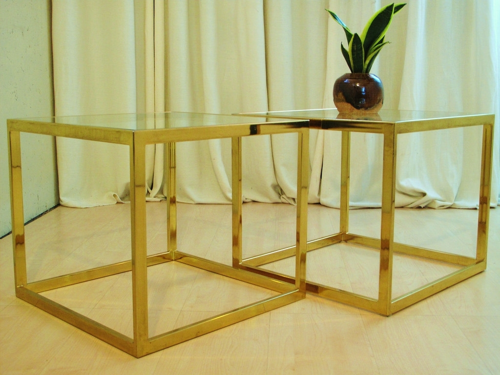Brass Cube End Tables | 20Thcenturymod | Flickr intended for Brass Iron Cube Tables (Image 5 of 30)