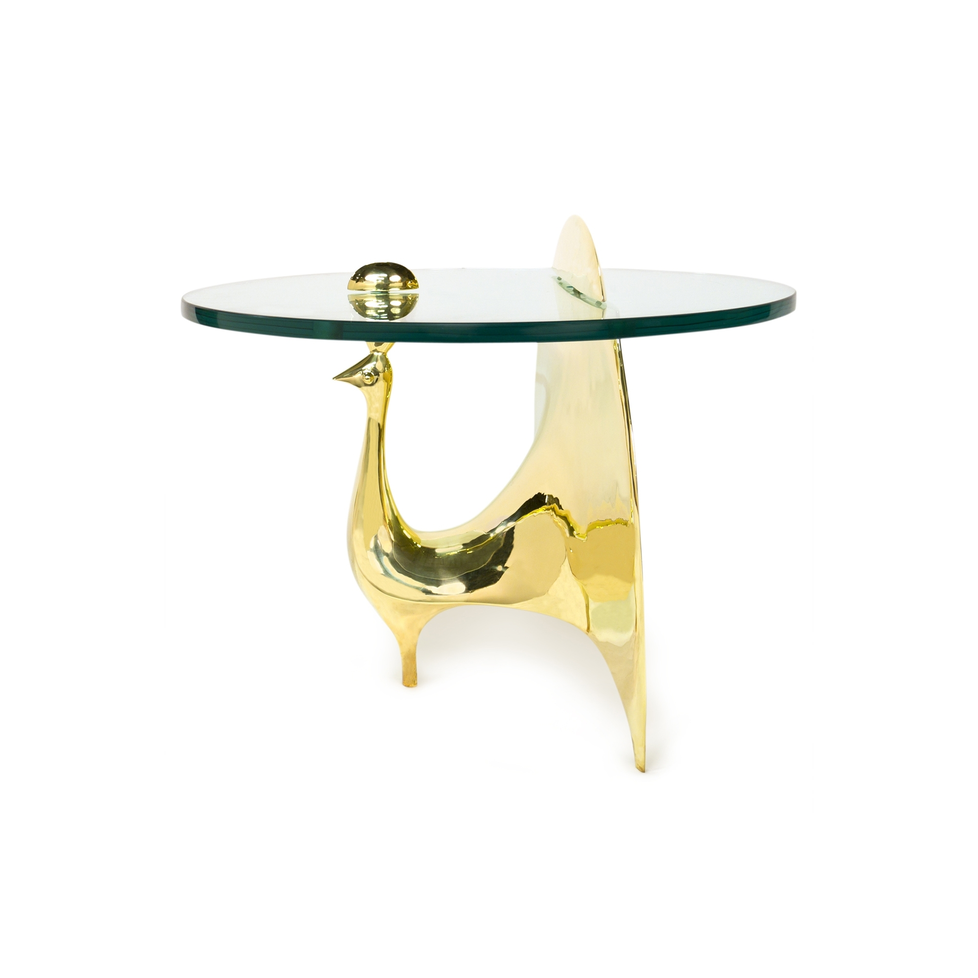 Brass Peacock Table with regard to Joni Brass and Wood Coffee Tables (Image 10 of 30)
