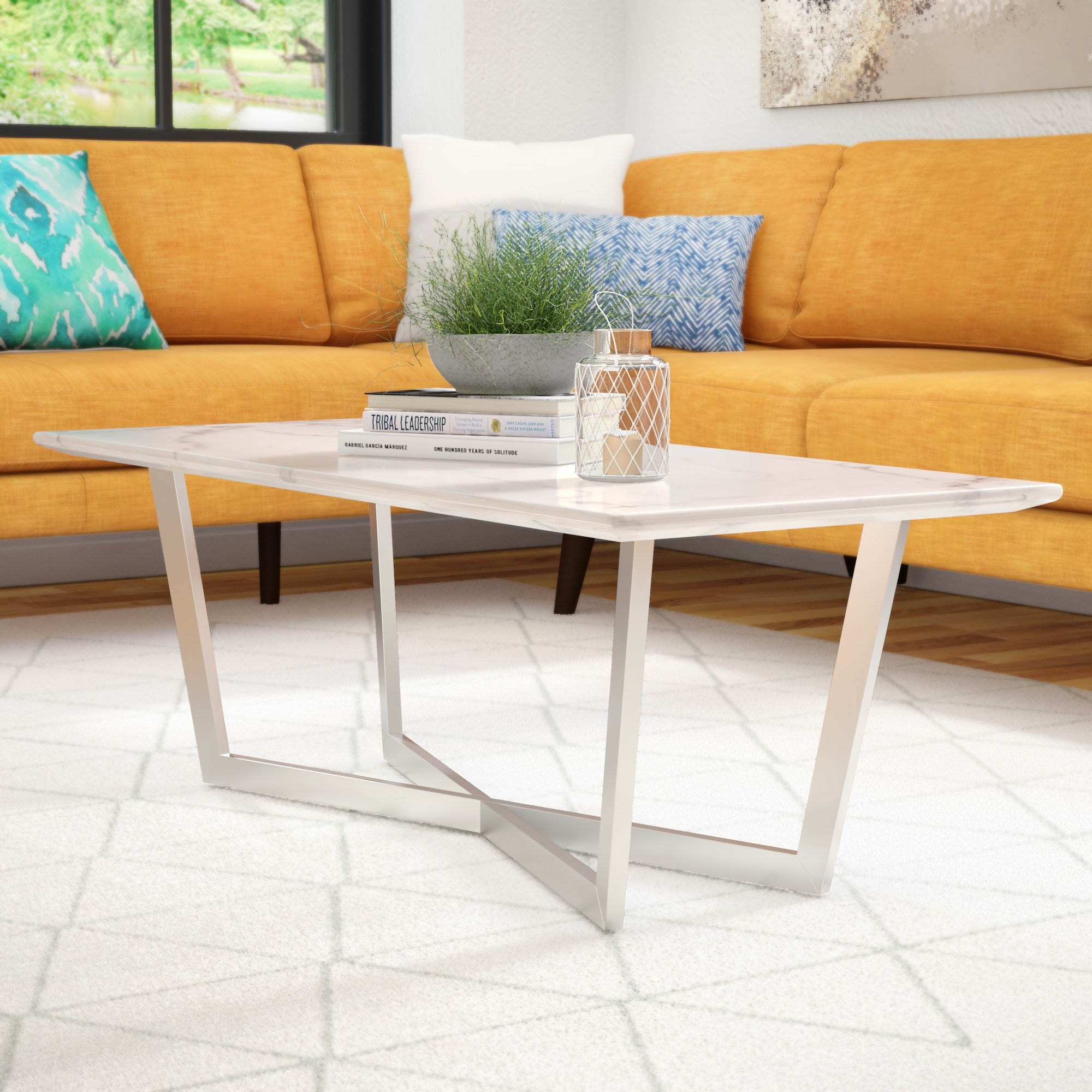 Brayden Studio Rosenbalm Faux Marble Coffee Table & Reviews | Wayfair pertaining to 2 Tone Grey and White Marble Coffee Tables (Image 7 of 30)
