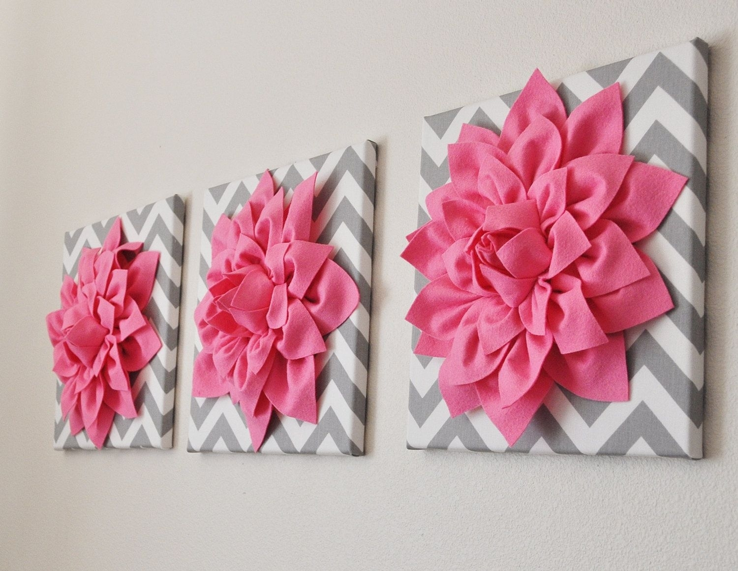 Bright Pink Wall Art -Set Of Three Pink Dahlias On Gray And White for Pink Wall Art (Image 7 of 20)