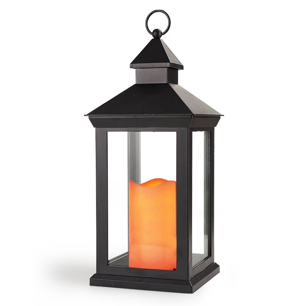 "Bright Zeal 14"" Tall Vintage Decorative Lantern With Led Flickering In Outdoor Lanterns With Battery Candles (View 17 of 20)"