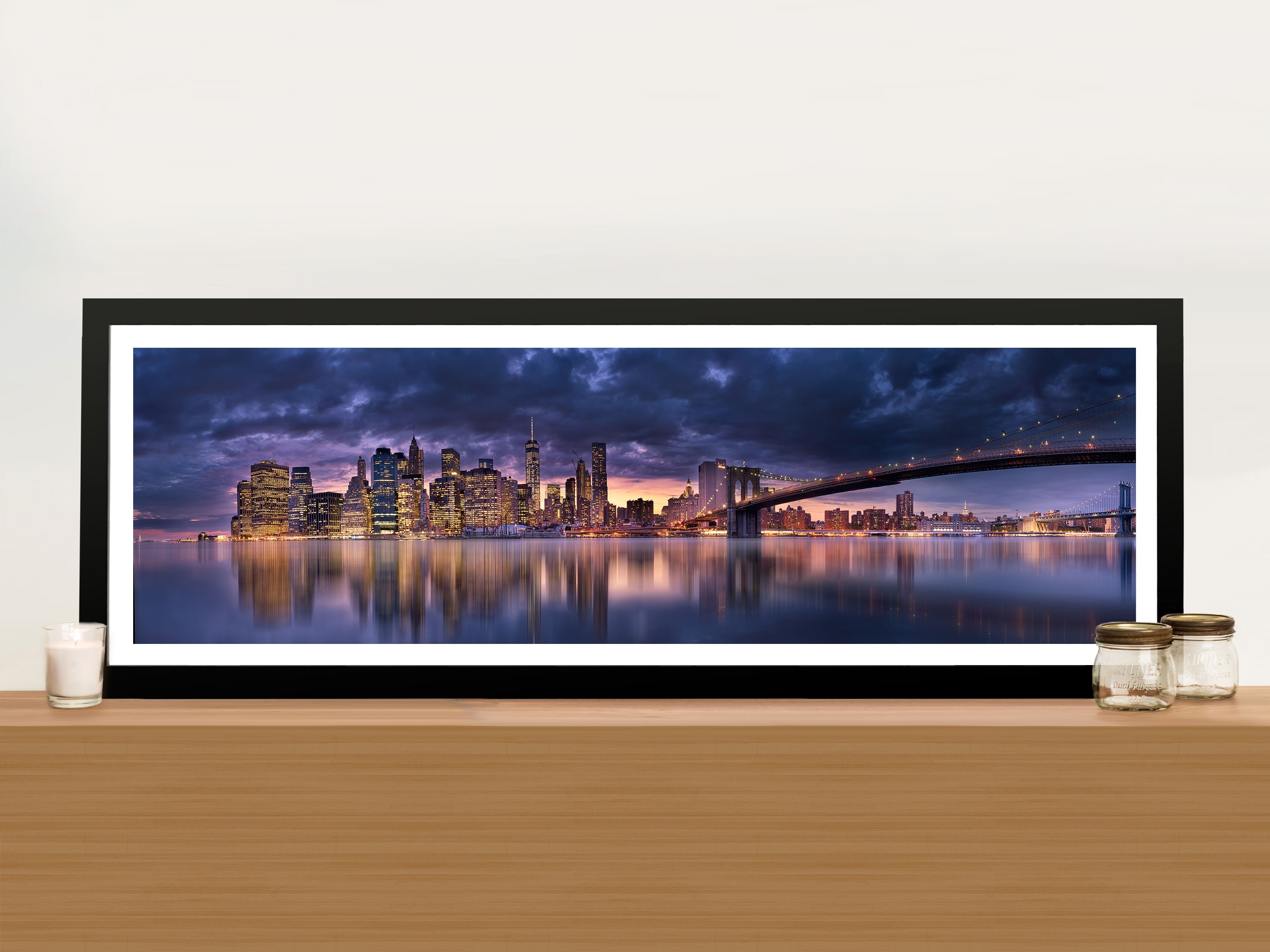 Brisbane Skyline At Night Panoramic Wall Artwork Print On Canvas in Panoramic Wall Art (Image 4 of 20)