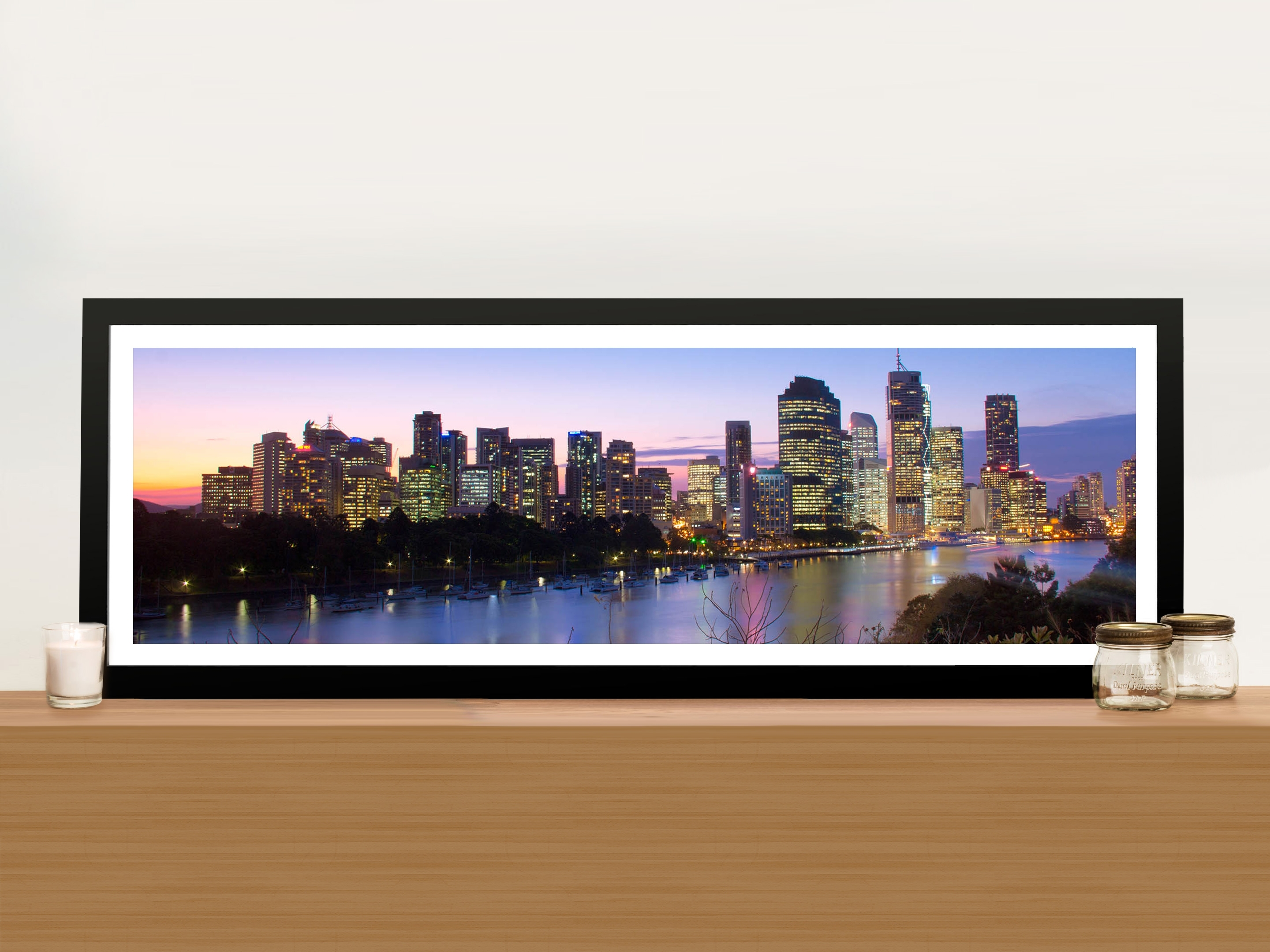 Brisbane Skyline In Panoramic View Picture Art Print On Canvas inside Panoramic Wall Art (Image 5 of 20)