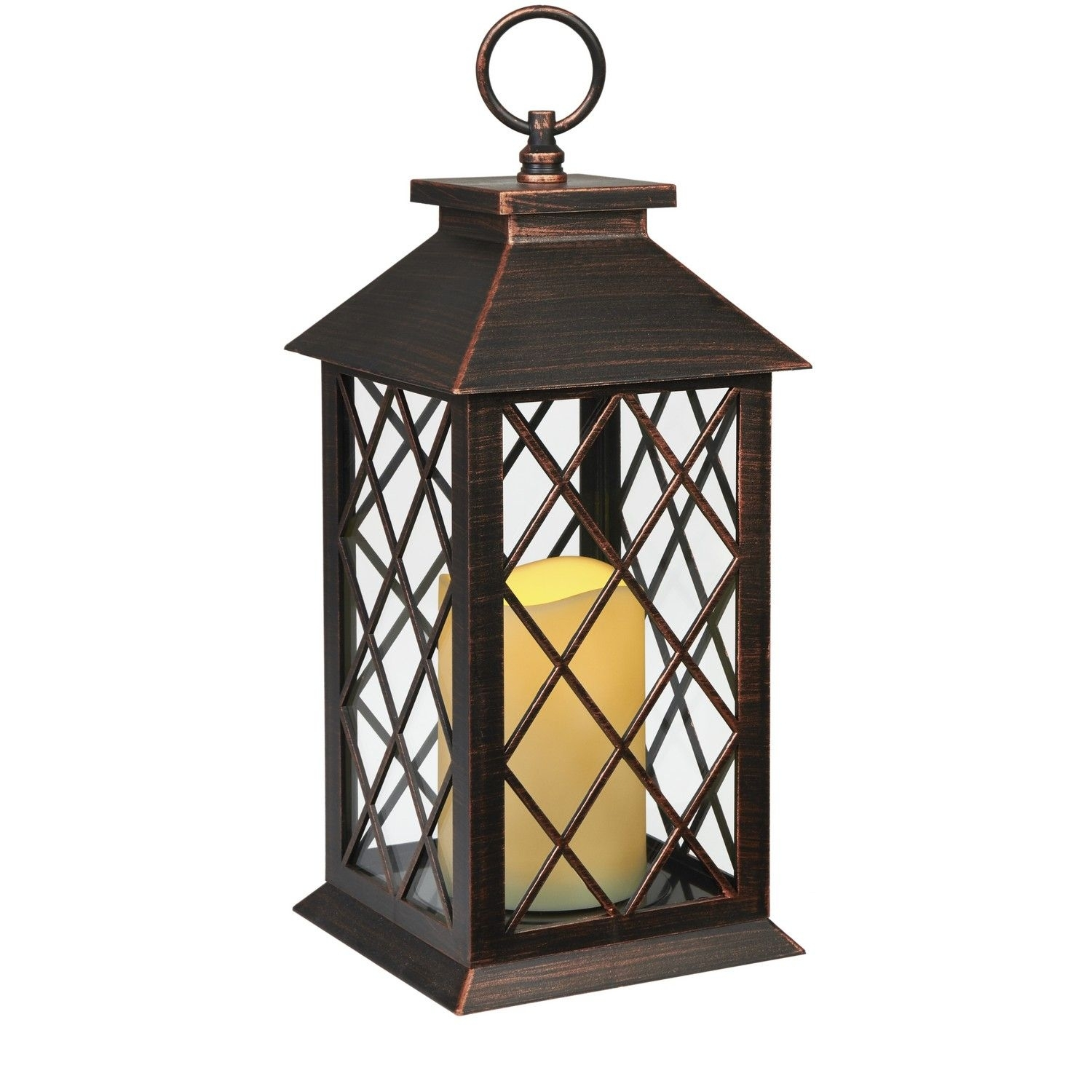 Bronze Plastic Candle Lanterns With Led Candle Installed: Size:14Cm Within Outdoor Lanterns With Led Candles (View 16 of 20)