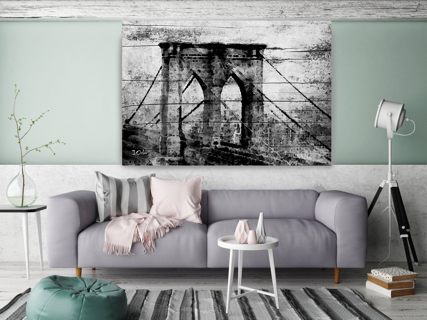 Brooklyn Bridge. Extra Large Rustic Urban Canvas Art Print Up To 80 within Large Rustic Wall Art (Image 5 of 20)