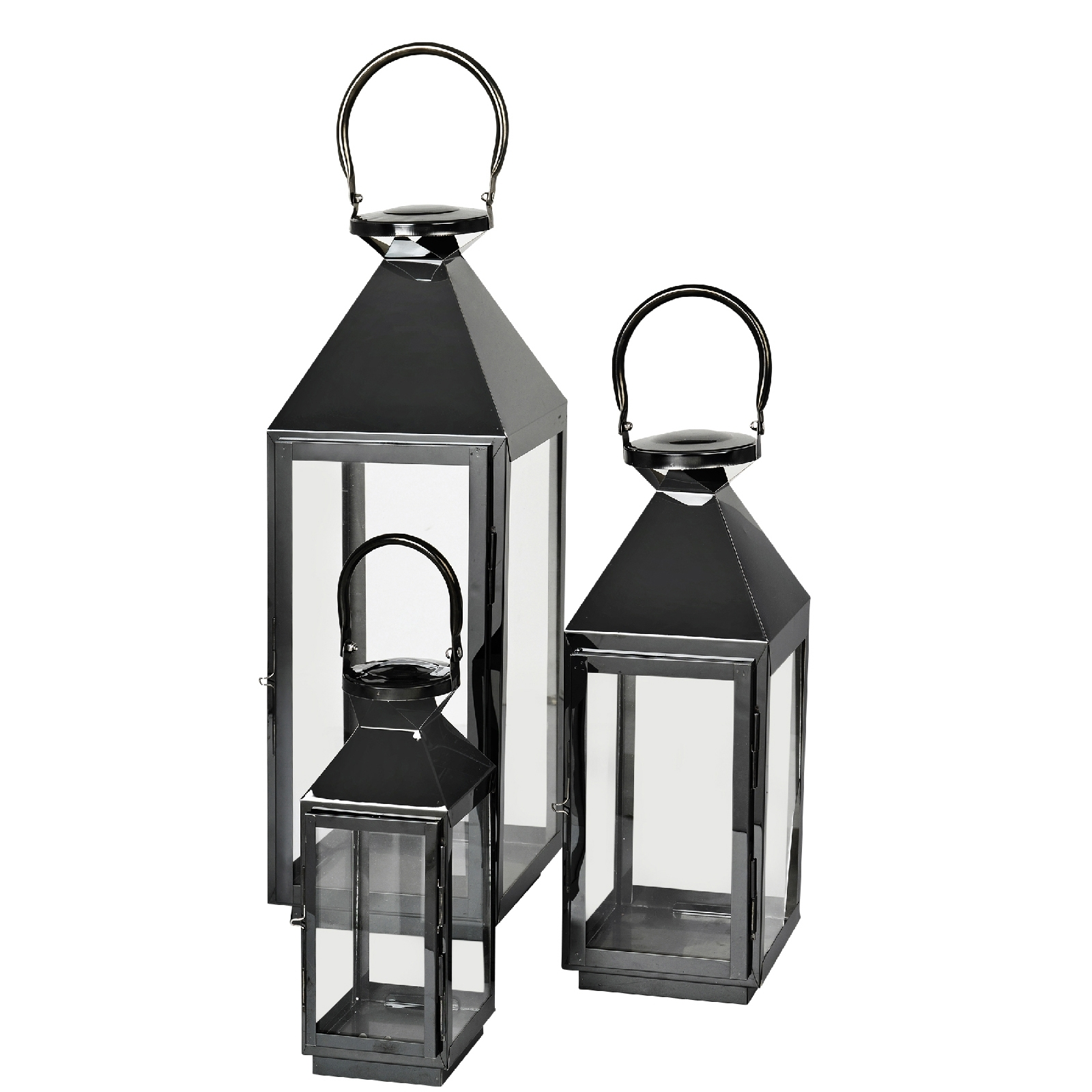 Broste Copenhagen Frit Outdoor And Indoor Lanterns – Black (Set Of 3 Throughout Set Of 3 Outdoor Lanterns (View 4 of 20)
