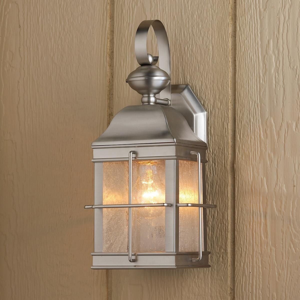 Brushed Nickel Outdoor Lights Elegant Nautical Inspired Lantern Wall throughout Elegant Outdoor Lanterns (Image 3 of 20)