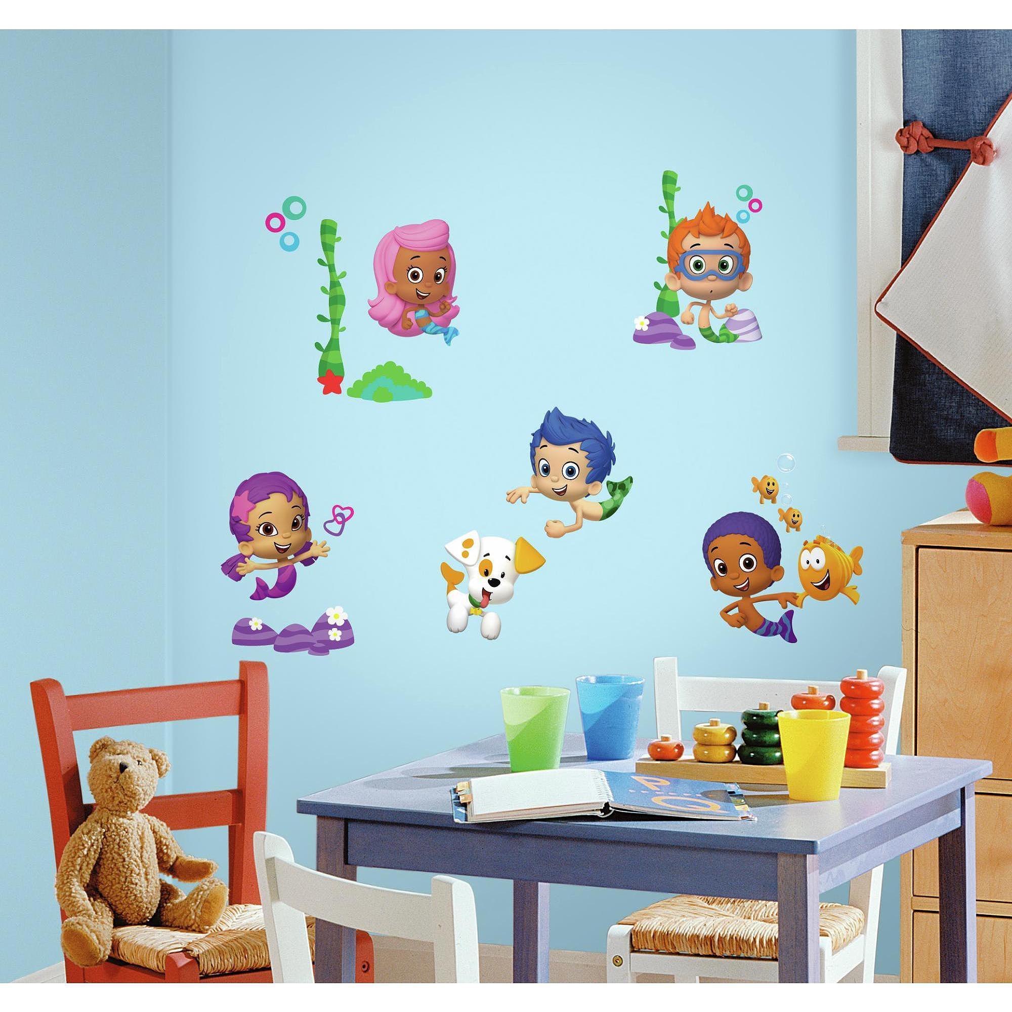 Bubble Guppies Wall Decal Decorations – Walmart Regarding Stick On Wall Art (View 2 of 20)