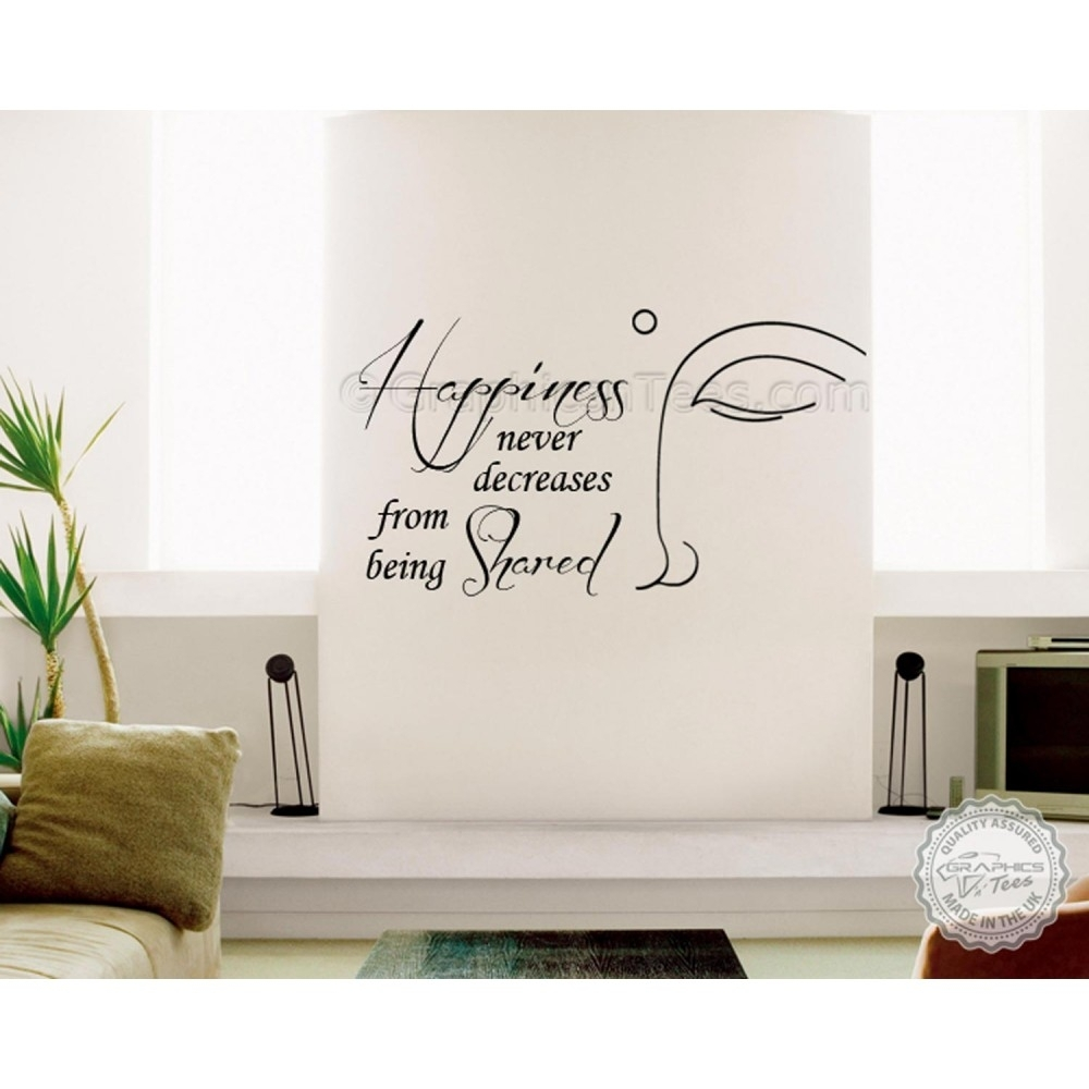 Buddha Inspirational Wall Sticker Quote, Happiness Never Decrease throughout Inspirational Quotes Wall Art (Image 3 of 20)