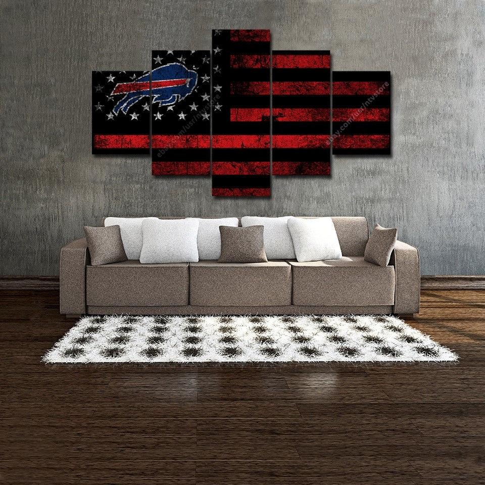 Buffalo Bills Wall Art Vintage American Flag Canvas 5 Piece Football regarding Vintage American Flag Wall Art (Image 6 of 20)