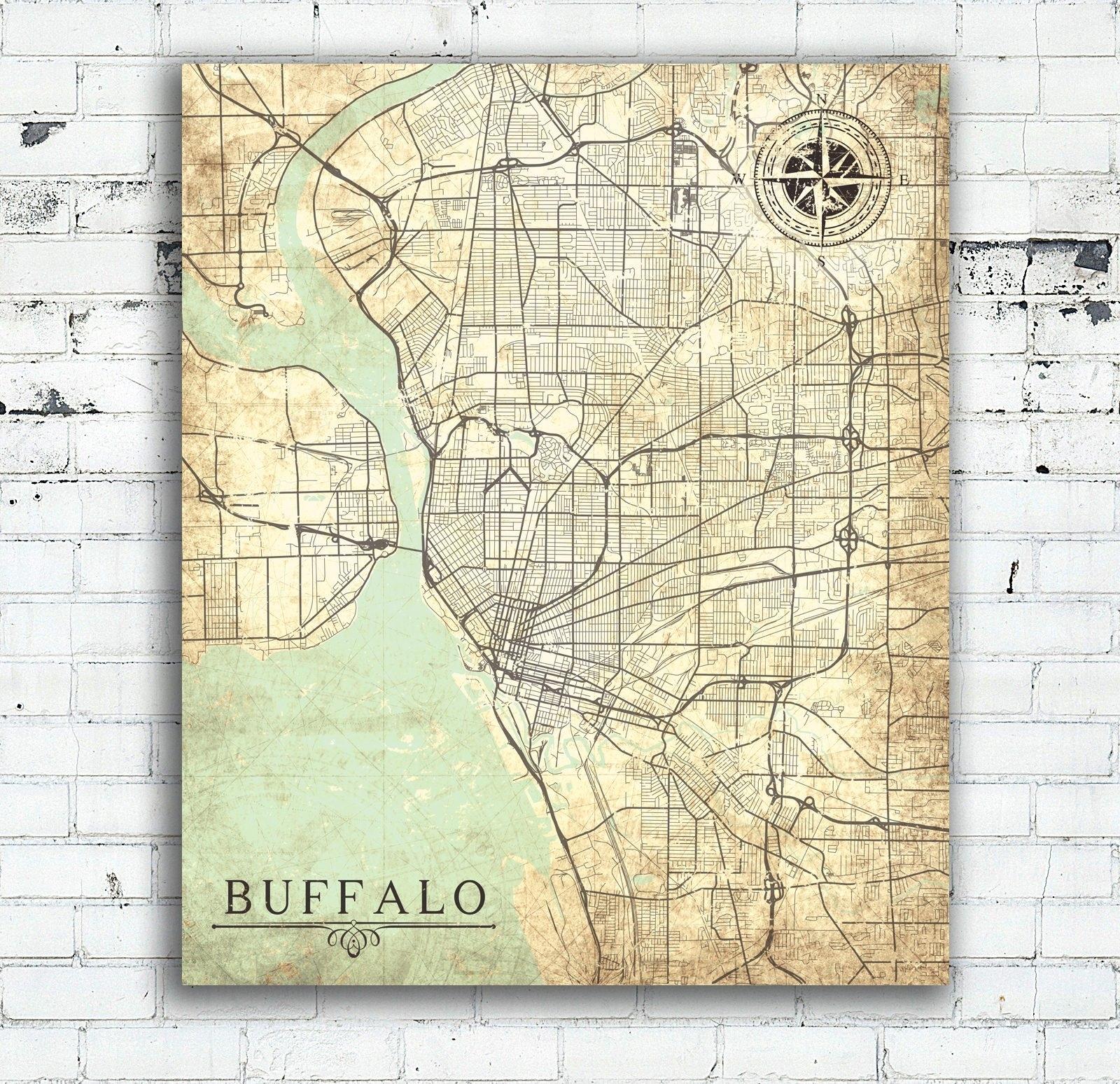 Buffalo Ny Canvas Print Buffalo New York City Map Vintage Map Wall Inside New York City Map Wall Art (View 19 of 20)