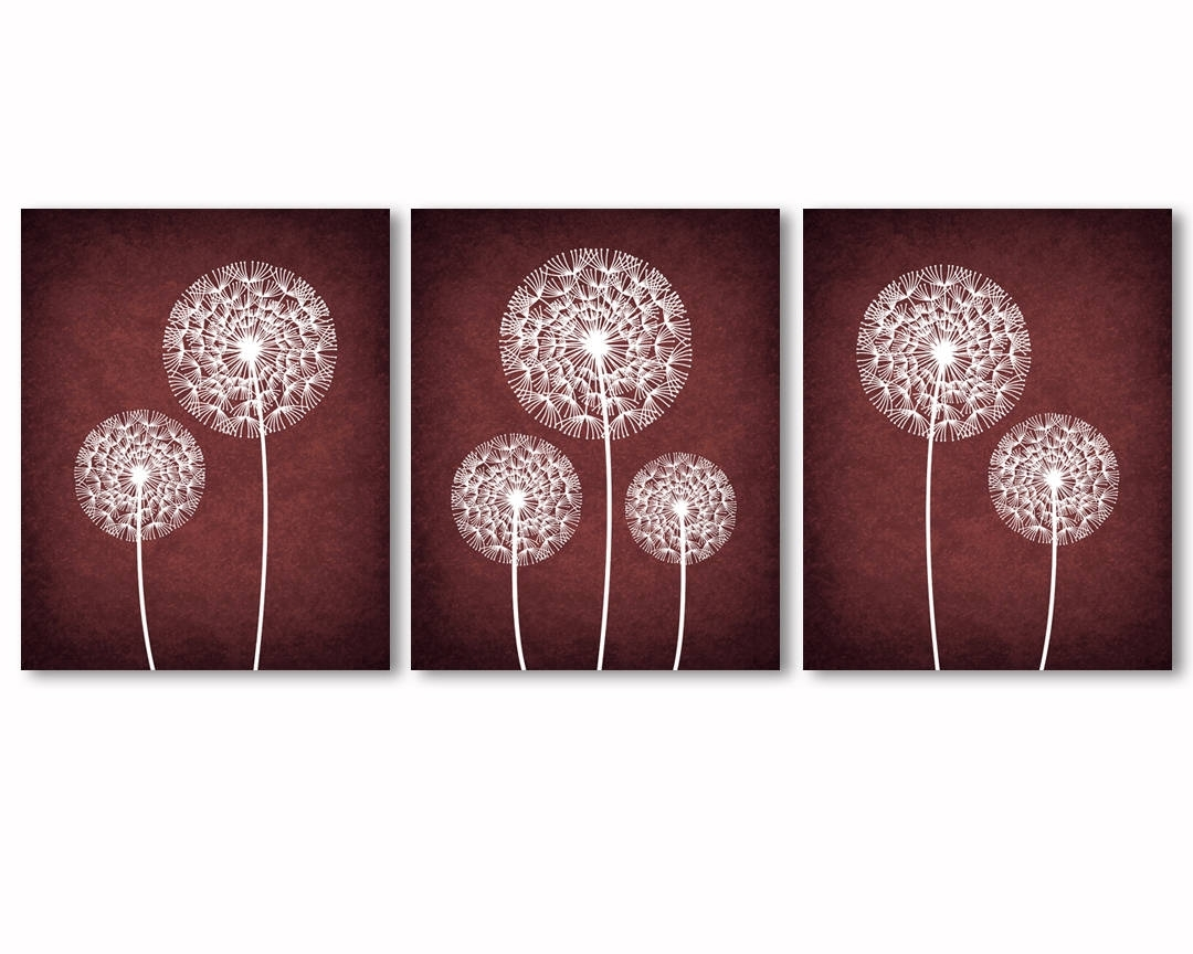 Burgundy Wall Art Dandelions Wall Art Burgundy And White | Etsy With Regard To Burgundy Wall Art (View 3 of 20)