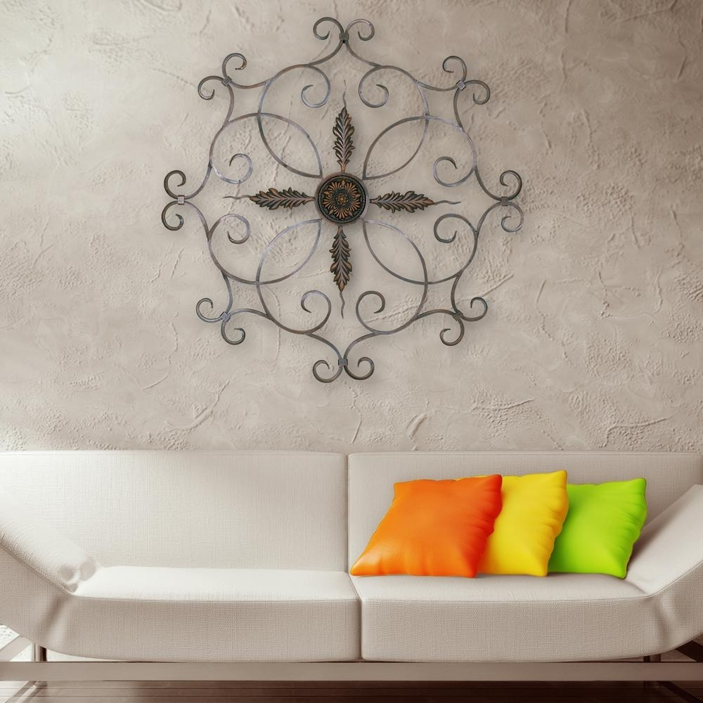 Burnt Copper Scrolled Iron Medallion Metal Work Wall Decor-2180 within Ceiling Medallion Wall Art (Image 3 of 20)