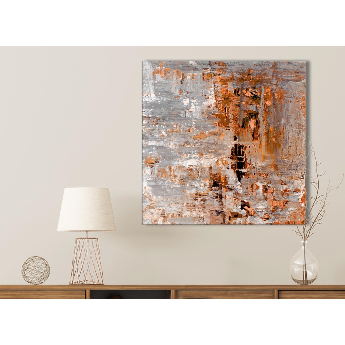 Burnt Orange Grey Painting Bathroom Canvas Wall Art Accessories Pertaining To Bathroom Canvas Wall Art (View 3 of 20)