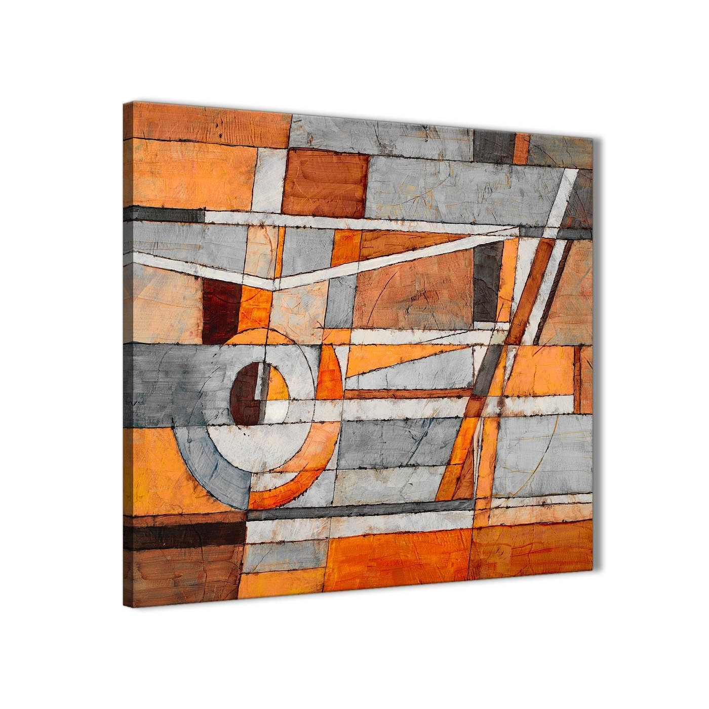 Burnt Orange Grey Painting Living Room Canvas Wall Art Decorations Pertaining To Orange Wall Art (View 17 of 20)