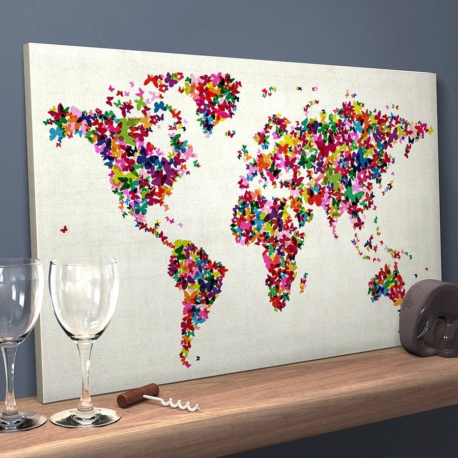 Butterflies Map Of The World Art Printartpause inside Map Wall Art Prints (Image 3 of 20)