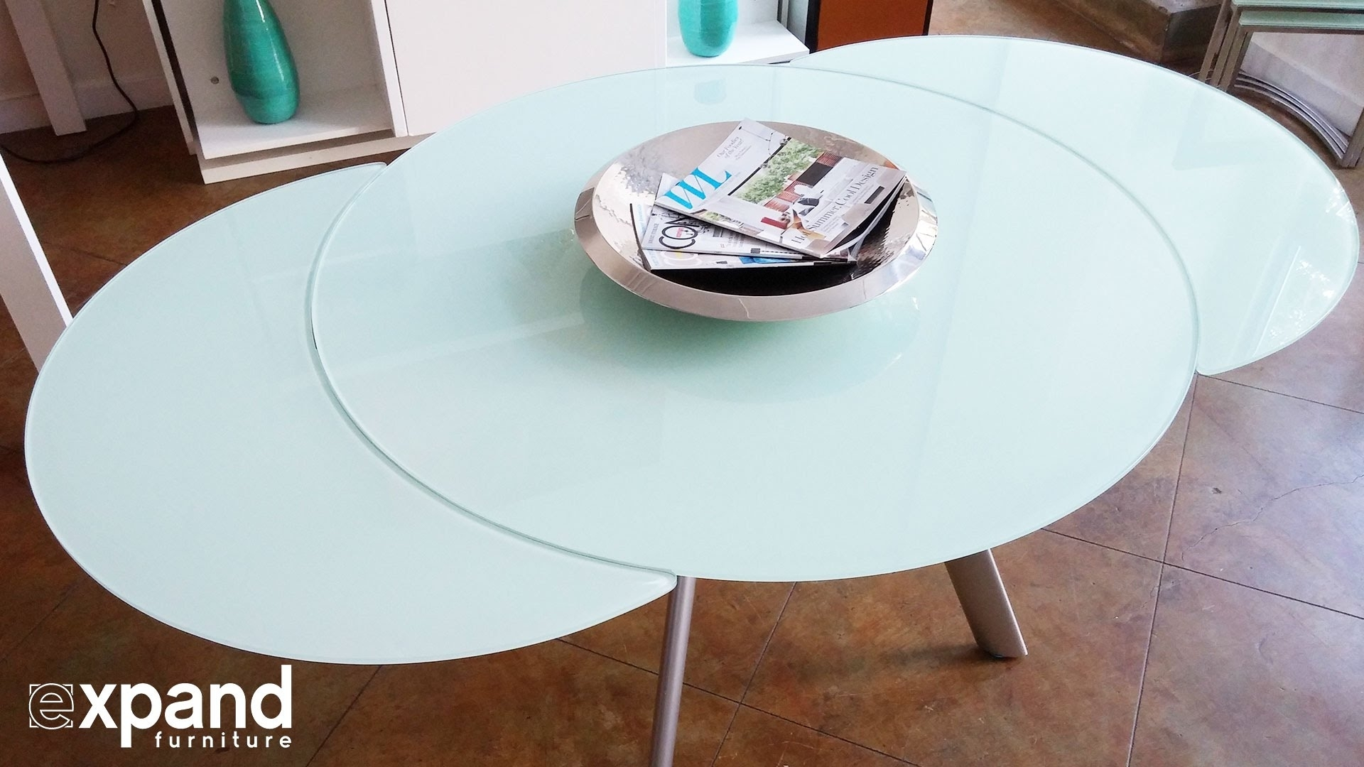 Butterfly Round Glass Extending Table Demonstration – Youtube Within Spin Rotating Coffee Tables (View 8 of 30)