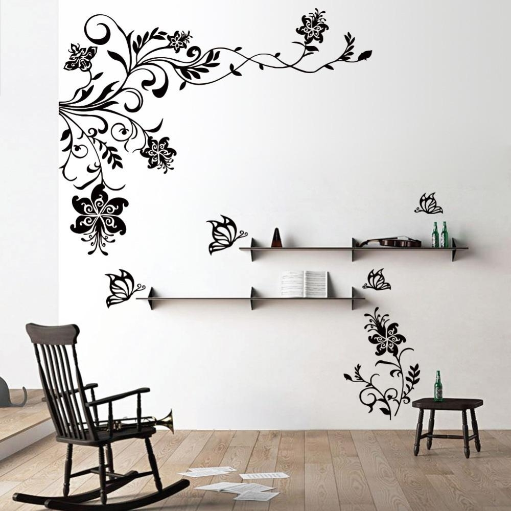 Butterfly Vine Flower Wall Decals Vinyl Art Stickers Living Room Throughout Wall Art Stickers (View 4 of 20)