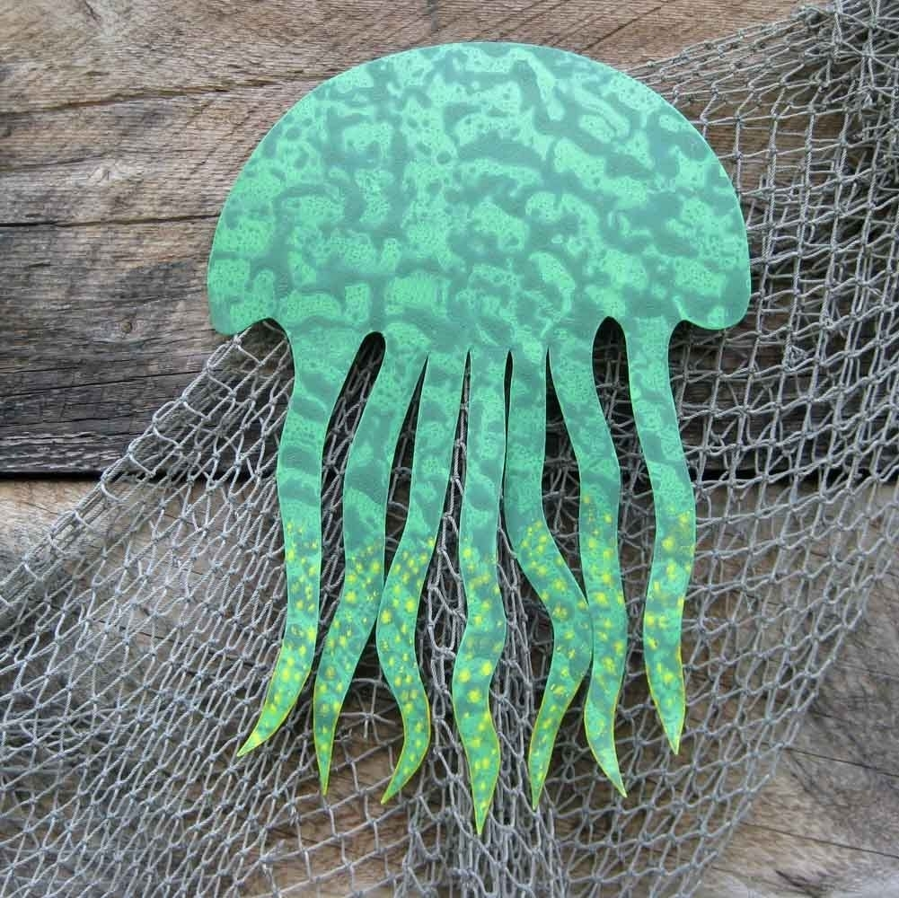 Buy A Handmade Sea Life Wall Art Sculpture - Jellyfish - Reclaimed with Sea Life Wall Art (Image 2 of 20)