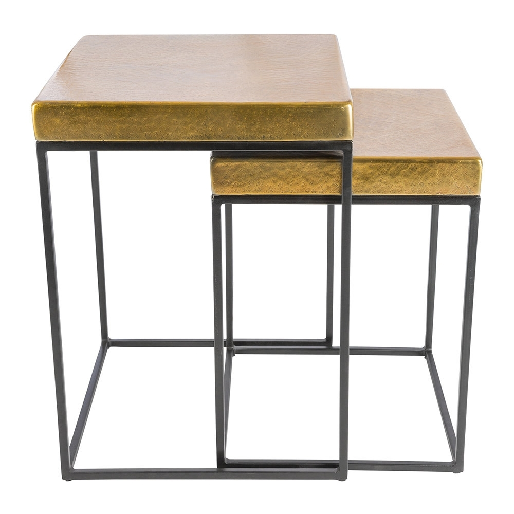 Buy Aamara Cube Side Tables - Set Of 2 - Antique Brass | Amara for Brass Iron Cube Tables (Image 8 of 30)