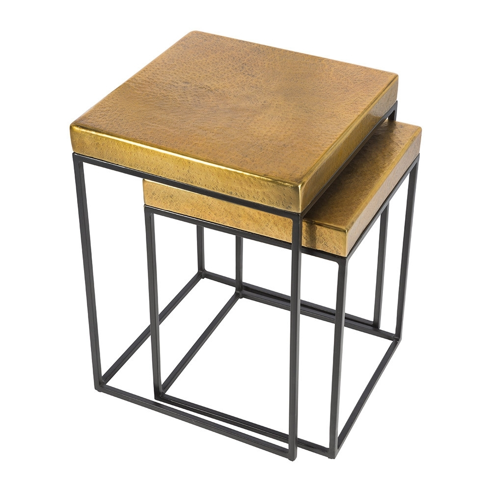 Buy Aamara Cube Side Tables - Set Of 2 - Antique Brass | Amara within Brass Iron Cube Tables (Image 9 of 30)