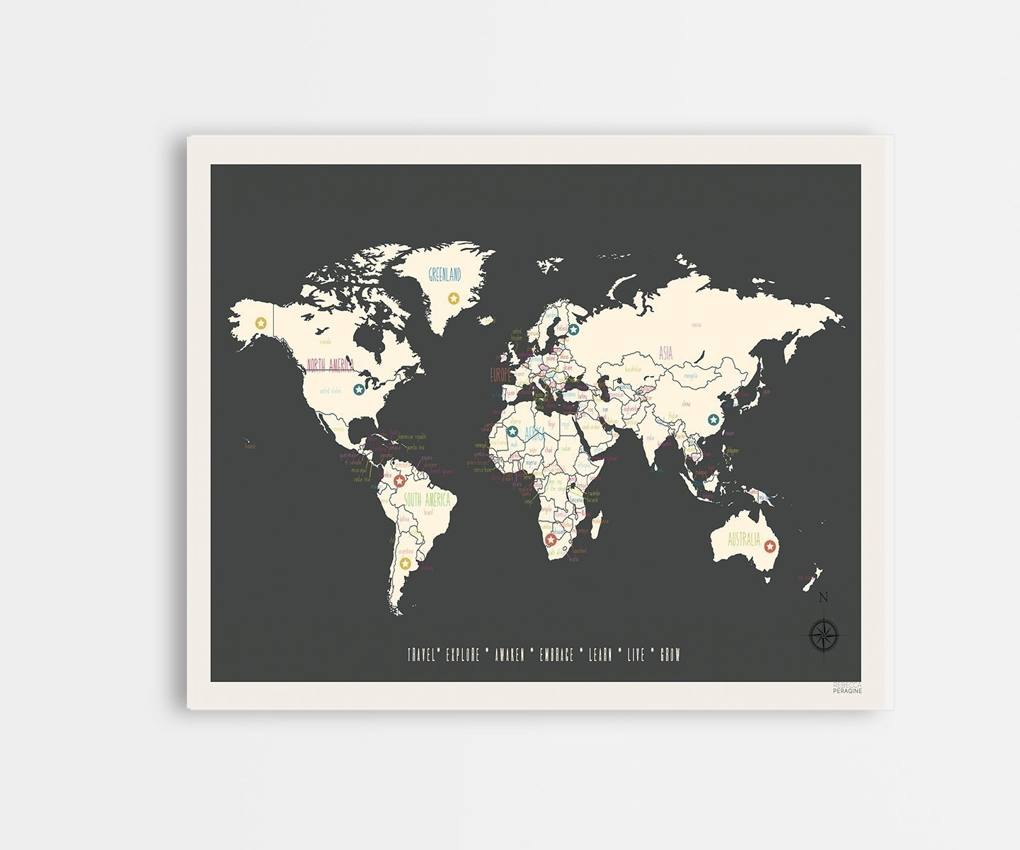 Buy Global Compassion World Map 24x18 Print Childrens Wall Art Map With Regard To Wall Art Map Of World (View 17 of 20)