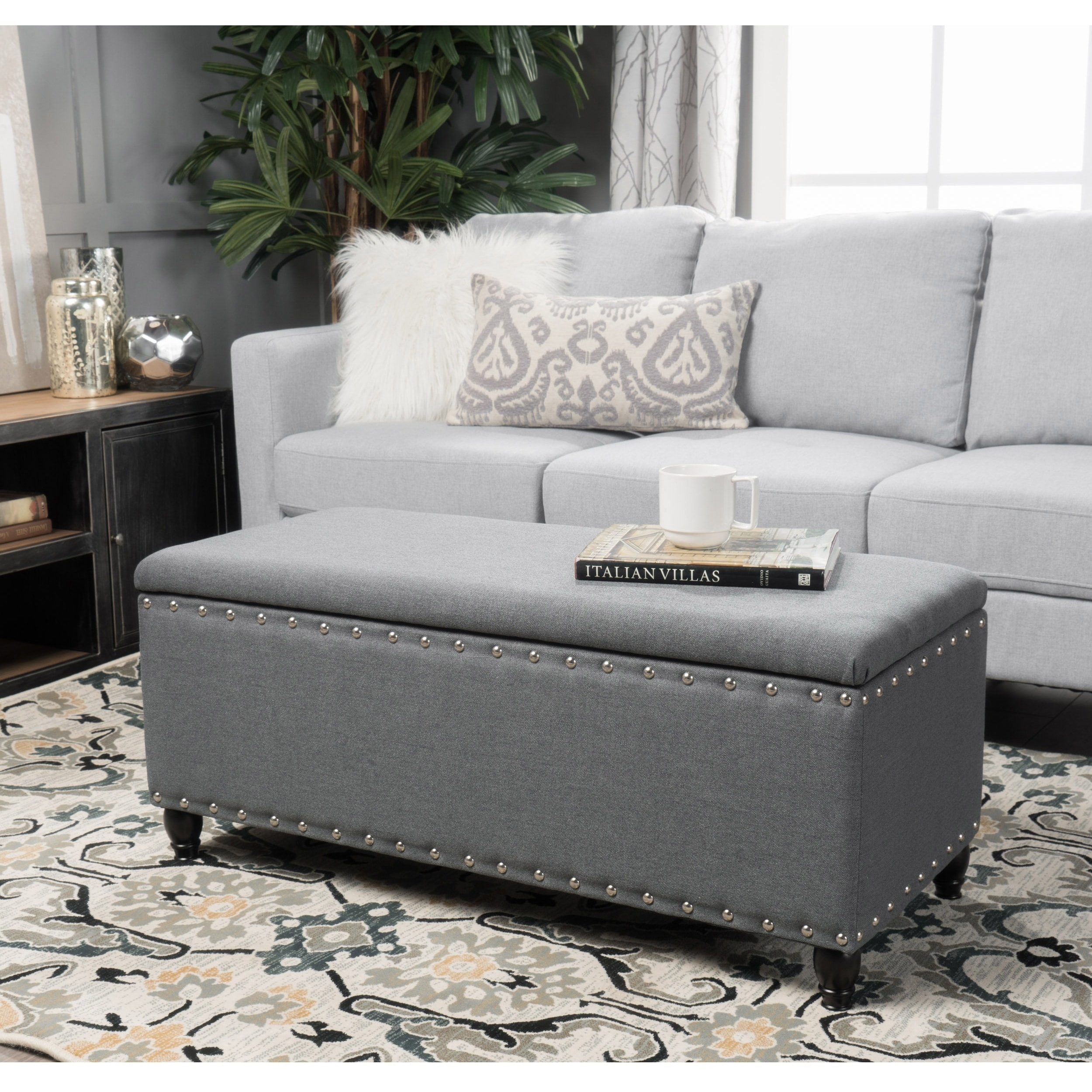 Buy Grey Ottomans & Storage Ottomans Online At Overstock | Our intended for Mill Large Leather Coffee Tables (Image 7 of 30)