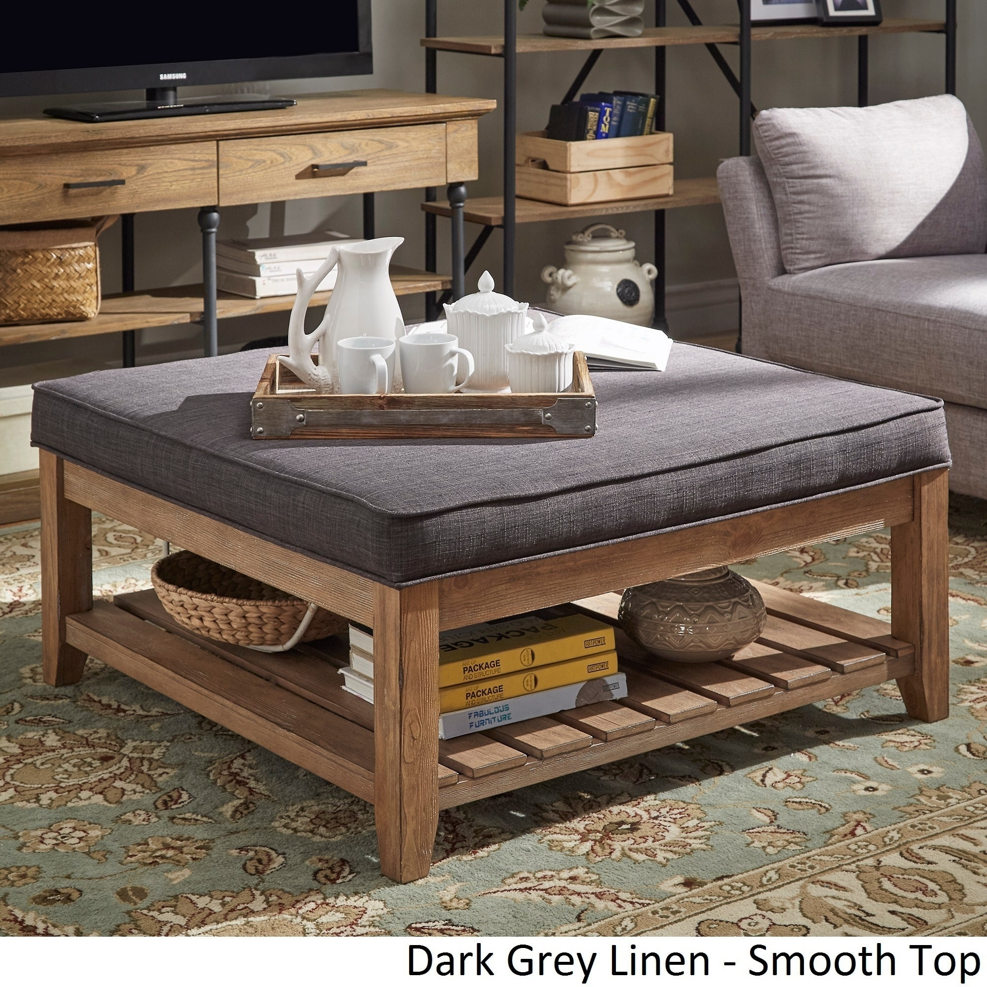 Buy Grey Ottomans & Storage Ottomans Online At Overstock | Our within Mill Large Leather Coffee Tables (Image 8 of 30)