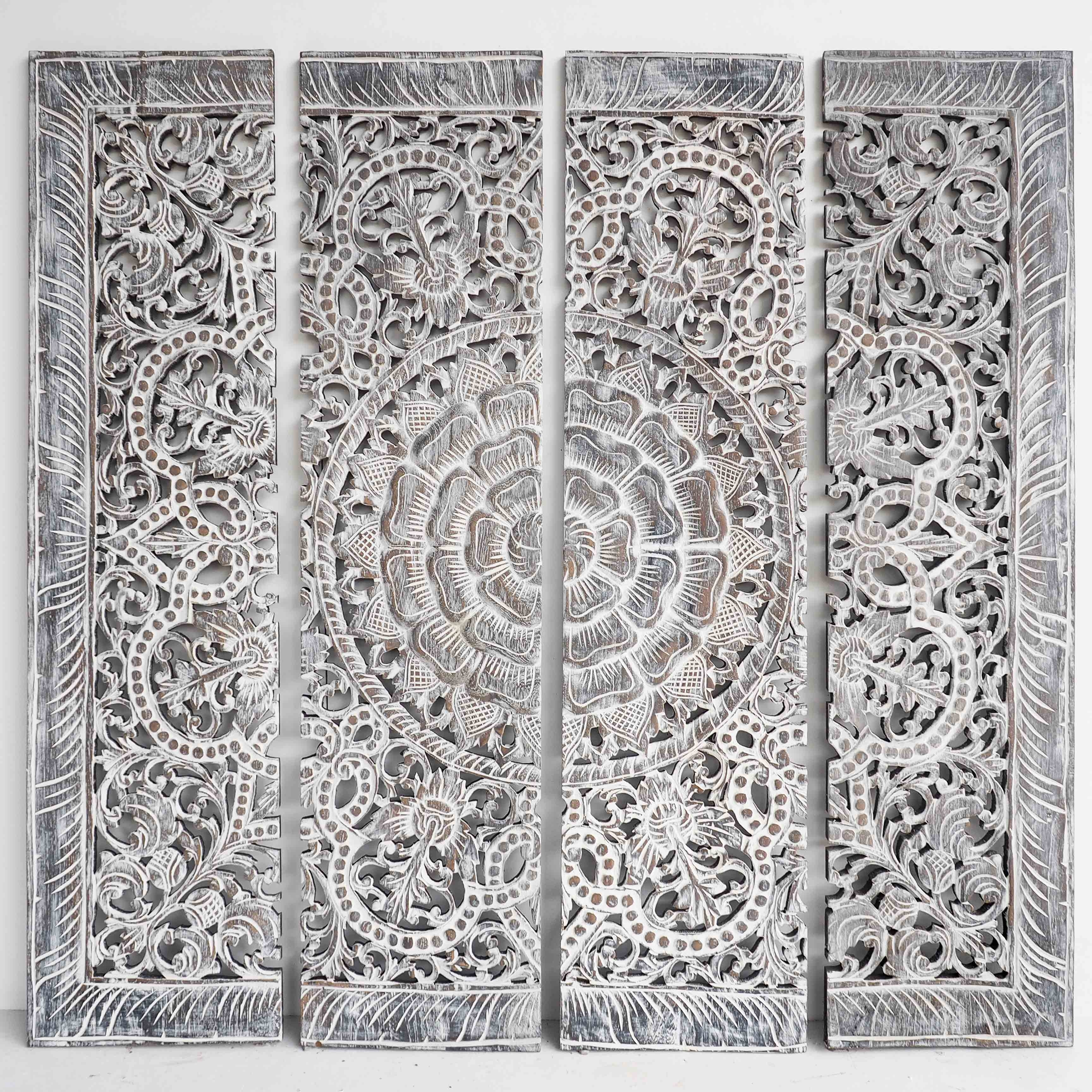 Buy Mandala Wood Carving Wall Art Paneling, Wooden Carved Headboard Throughout Wood Carved Wall Art (View 2 of 20)