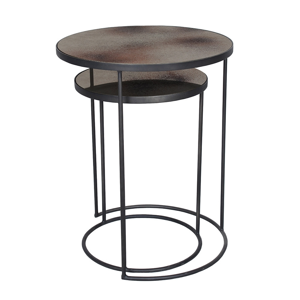 Buy Notre Monde Nesting Side Table Set – Bronze | Amara Throughout Set Of Nesting Coffee Tables (View 7 of 30)