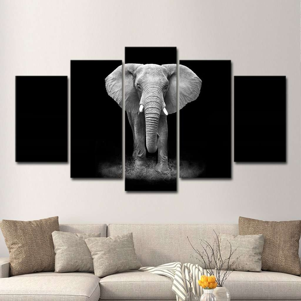 B&w Elephant Wall Art Multi Panel Canvas | Mighty Paintings For Elephant Wall Art (View 19 of 20)