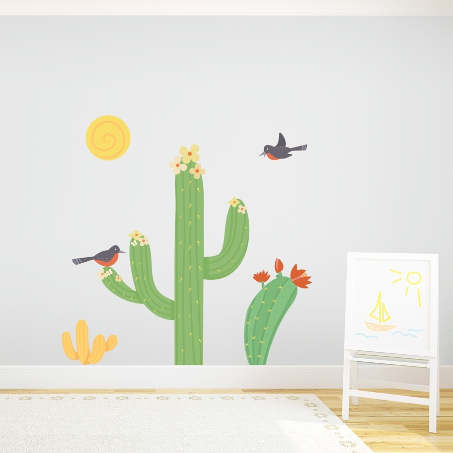 Cacti Birds Printed Wall Decal inside Cactus Wall Art (Image 2 of 20)