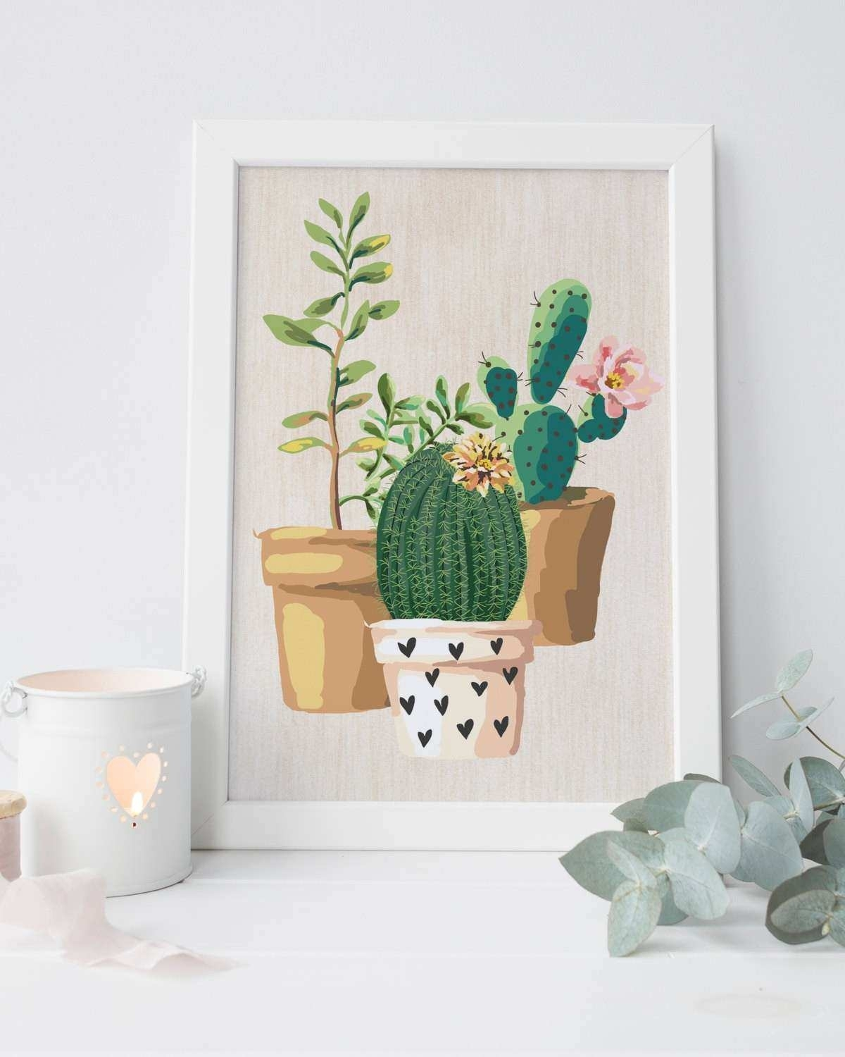 Cactus Wall Art Inspirational Digital Print Cactus Printable with regard to Cactus Wall Art (Image 8 of 20)