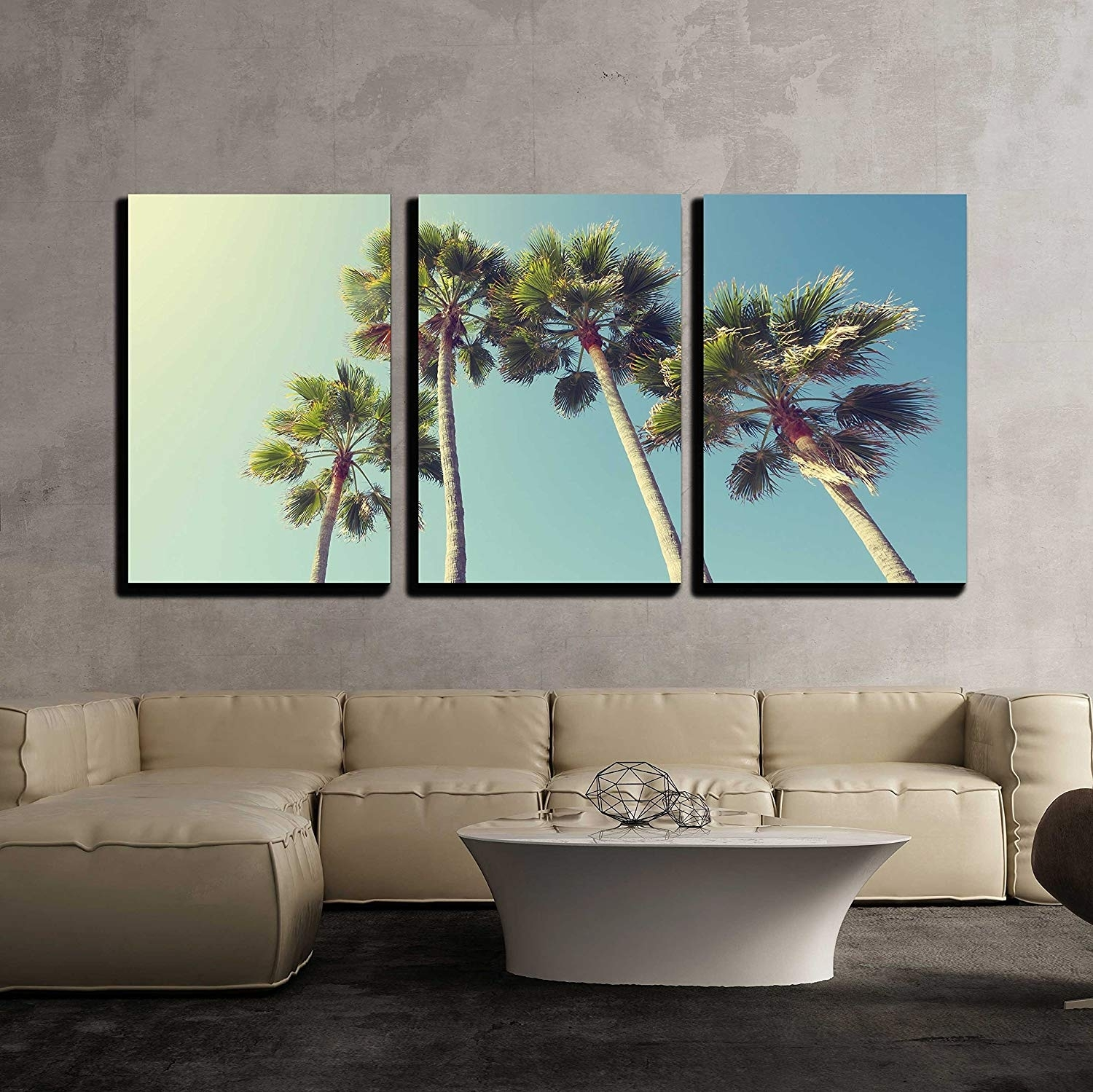 California Palm Trees In Vintage Style X3 Panels - Canvas Art | Wall26 inside California Wall Art (Image 10 of 20)