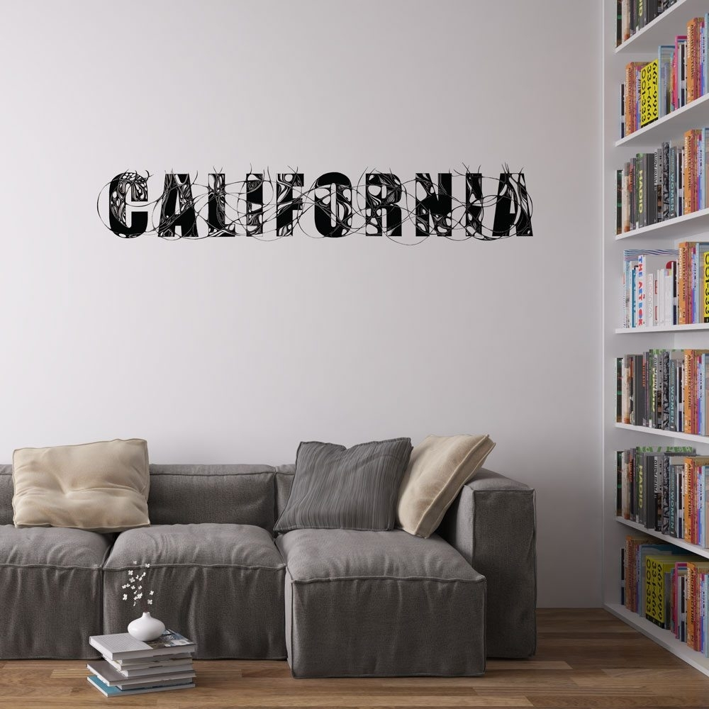 California Typography Vinyl Wall Art Stickergeorge Birch | Vinyl inside California Wall Art (Image 12 of 20)
