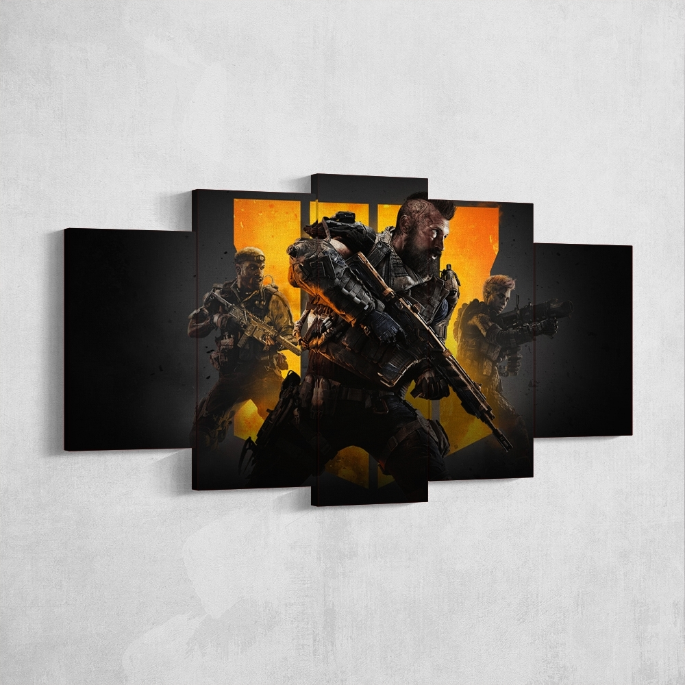 Call Of Duty Black Ops 4 – 5 Piece Canvas Wall Art Gaming Canvas Throughout 4 Piece Wall Art (View 15 of 20)