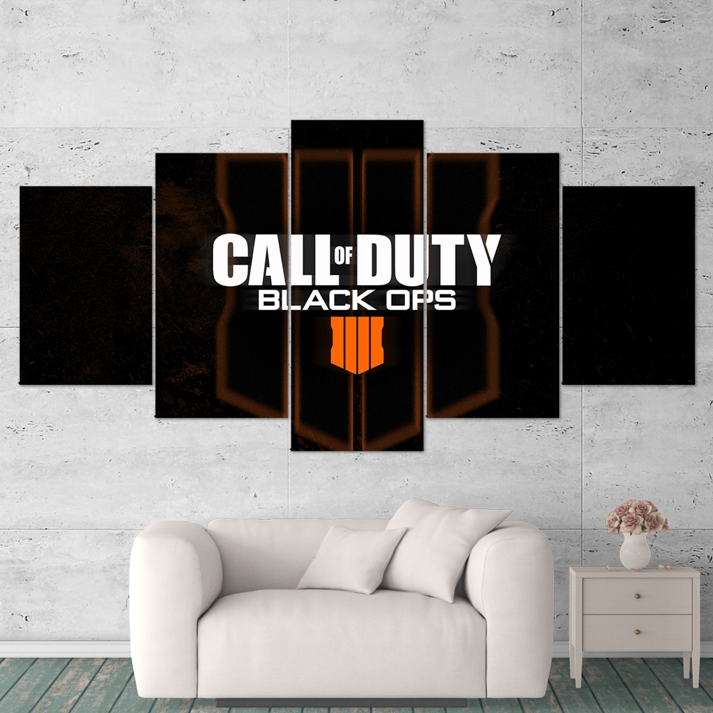Call Of Duty Black Ops 4 Logo 5 Piece Canvas Wall Art Gaming Canvas Throughout 5 Piece Wall Art Canvas (View 11 of 20)