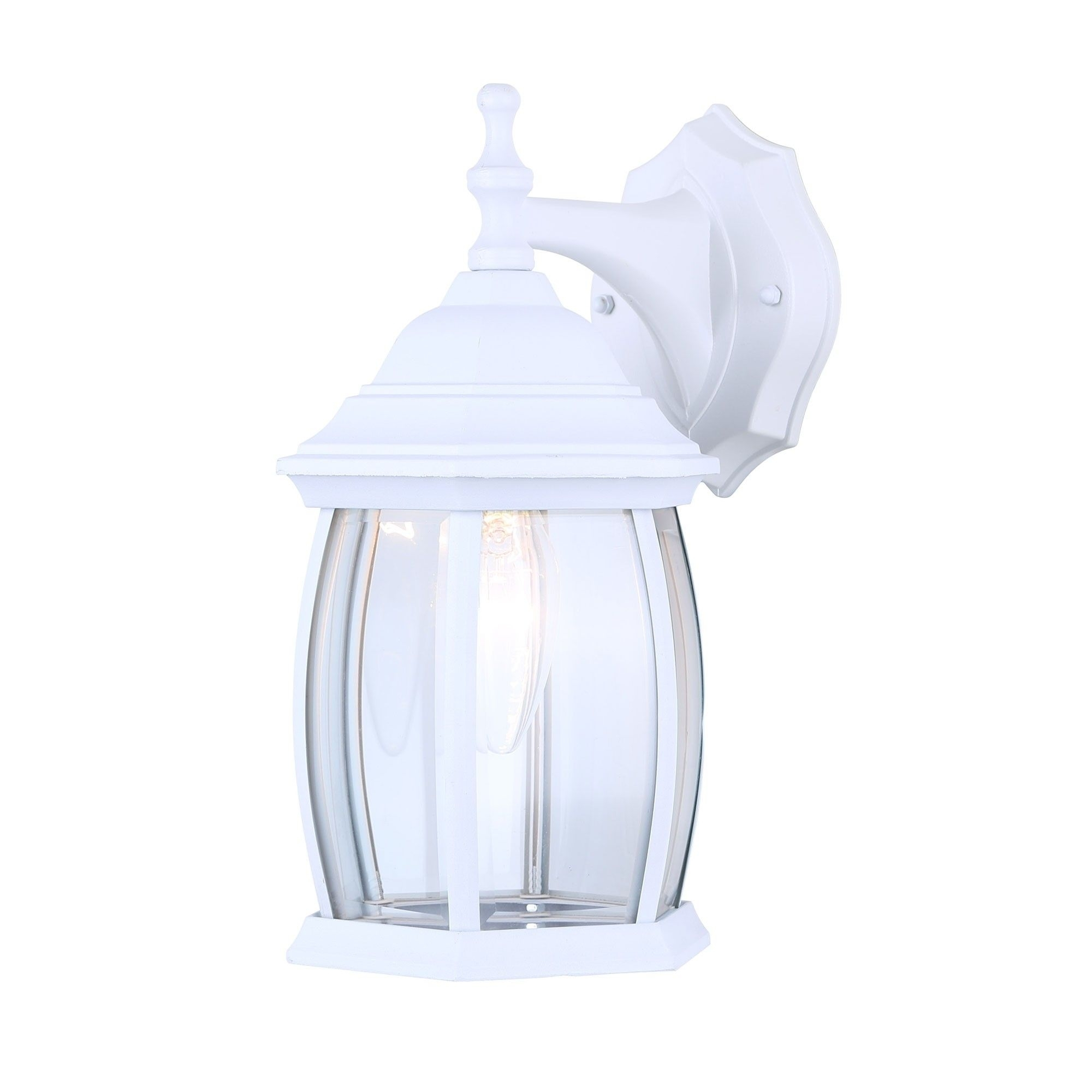 Canarm Iol12wh Exterior Outdoor Light Fixture Lantern Sconce Curved Pertaining To White Outdoor Lanterns (View 12 of 20)