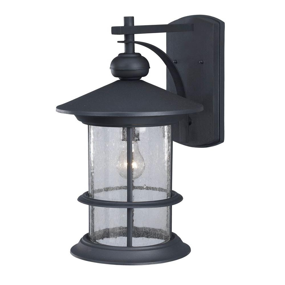 Canarm Ryder 1-Light Black Outdoor Wall Lantern With Seeded Glass with regard to Outdoor Lanterns Without Glass (Image 5 of 20)