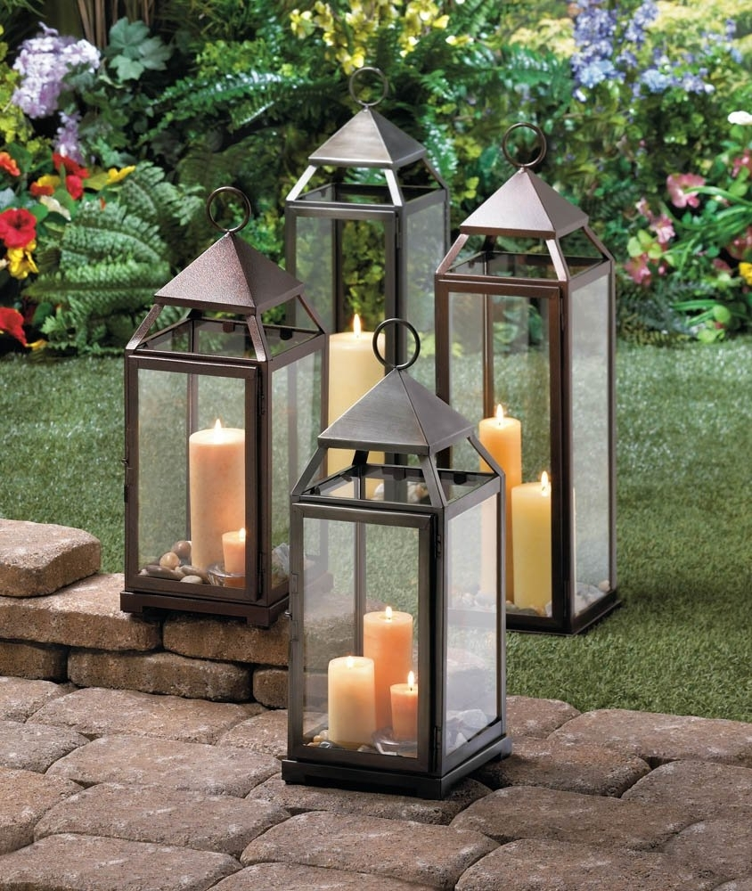 Candle Lanterns Decorative, Rustic Metal Outdoor Lanterns For inside Outdoor Candle Lanterns (Image 5 of 20)