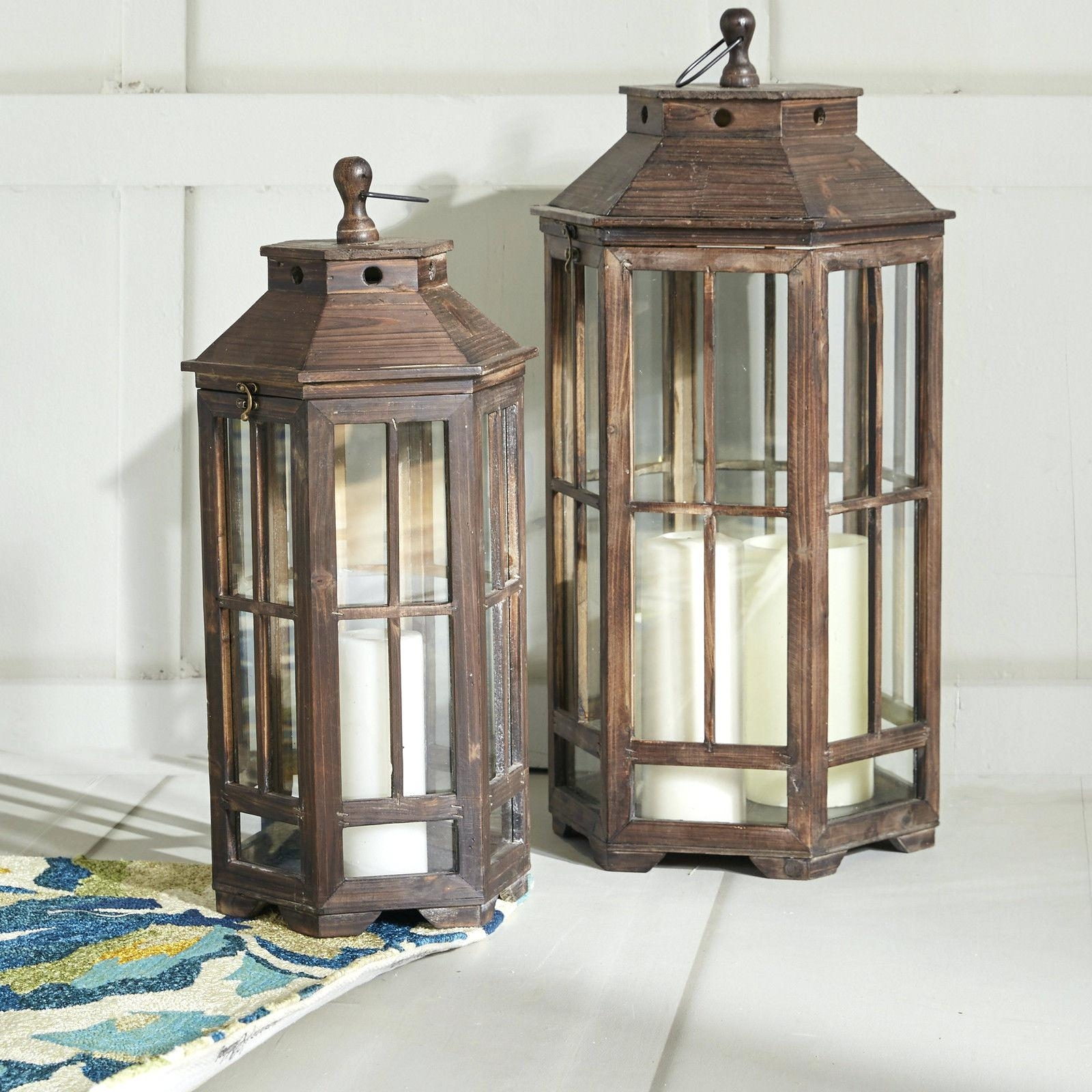 Candles ~ Outdoor Candle Lanterns For Patio 2 Piece Wood Lantern Set inside Outdoor Wood Lanterns (Image 1 of 20)